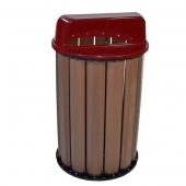 Lixeira Coleta Seletiva Madeira Plástica Vermelha