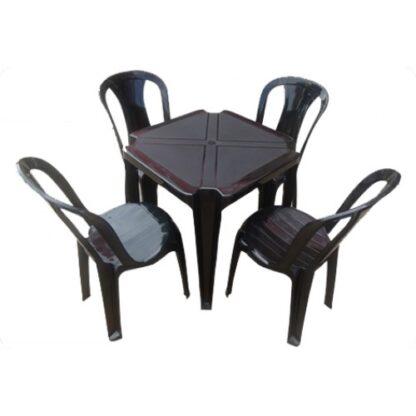Jogo de Mesa e Cadeira de Plástico Preto