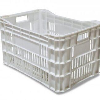 Caixa Plástica Vazada Branca Reciclada 50 Litros