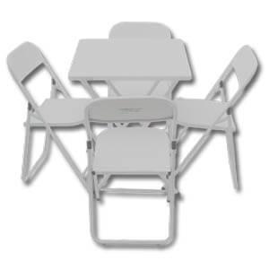 Jogo Mesa e Cadeira de Aço Dobrável