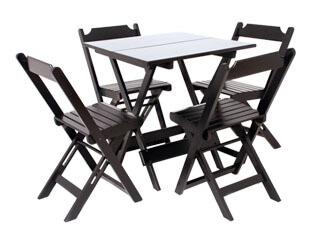 Conjunto Mesa e Cadeira de Madeira Para Bar