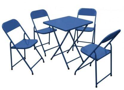 Mesa e cadeira de aço dobrável Azul METALMIX