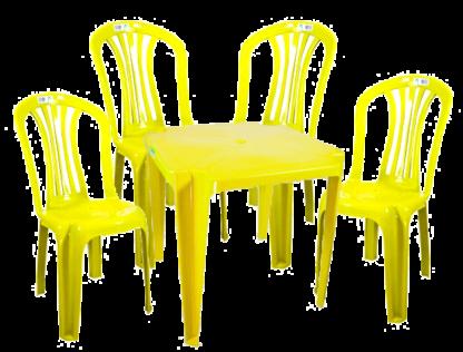 Jogo de Mesa e Cadeira de Plástico Amarelo