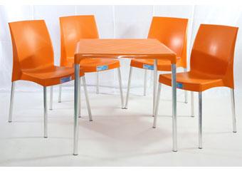 Jogo Mesa e Cadeira de Plástico Jasmim Laranja