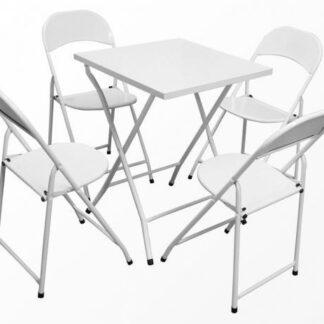 Mesa e cadeira de aço dobrável Branca -