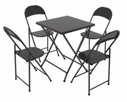 Mesa e cadeira de aço dobrável Preta