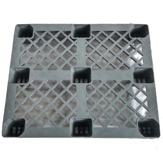 Pallet Plástico Vazado Cinza c/ sapata - 100 x 120 x 15
